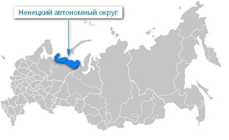Карта нахождения Ненецкого автономного округа