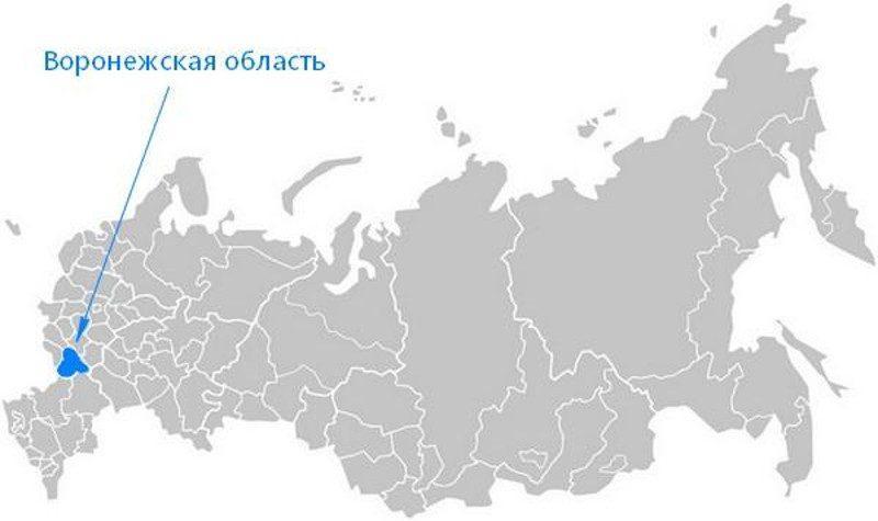 Карта нахождения Воронежской области