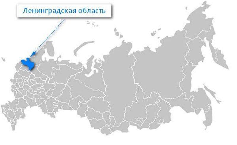 Карта нахождения Ленинградской области