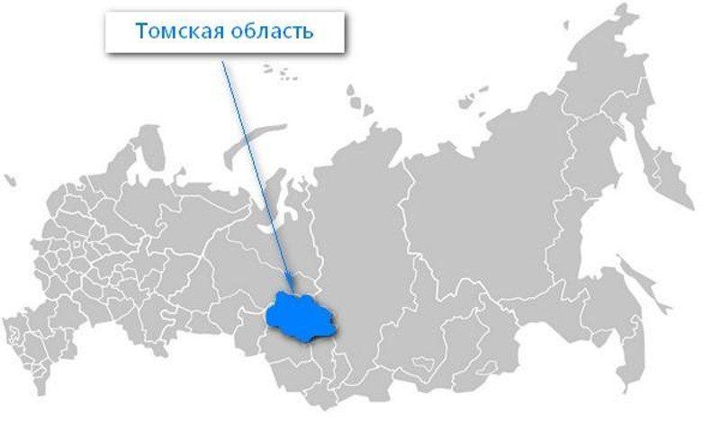 Карта нахождения Томской области