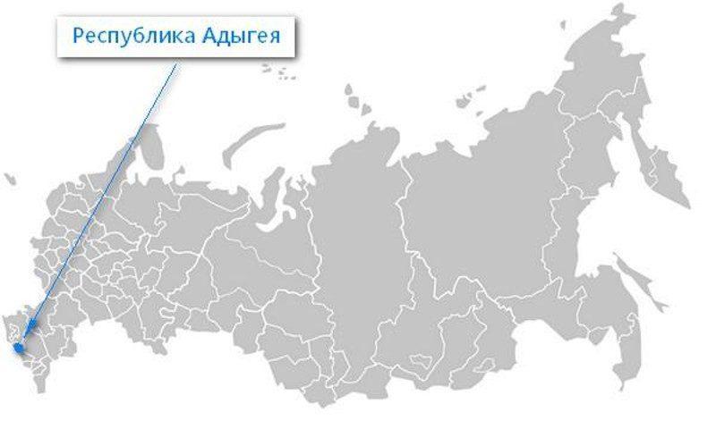Карта нахождения Республики Адыгея