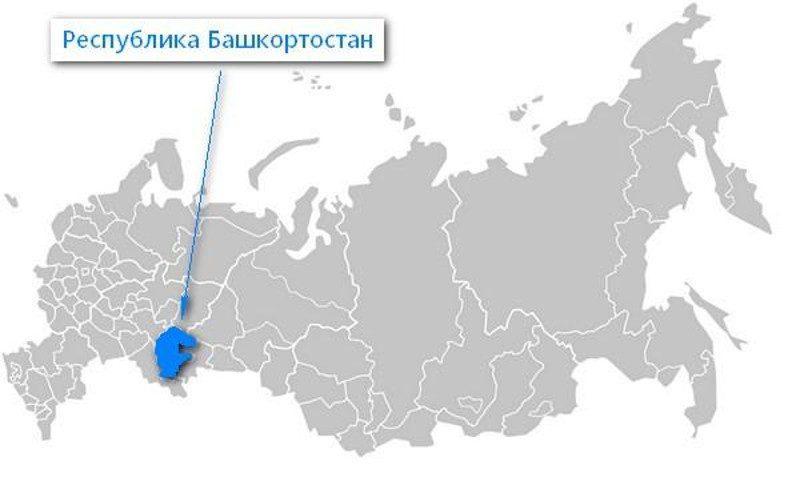 Карта нахождения Республики Башкортостан
