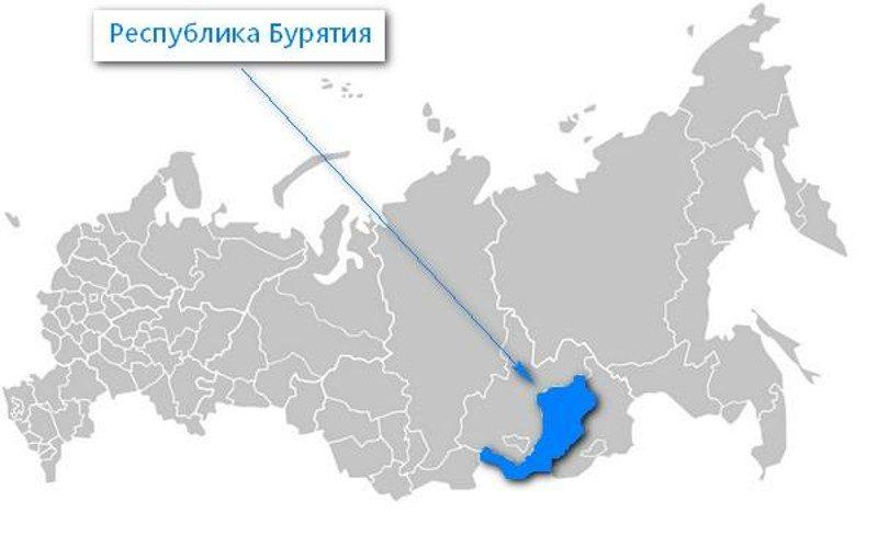 Карта нахождения Республики Бурятия