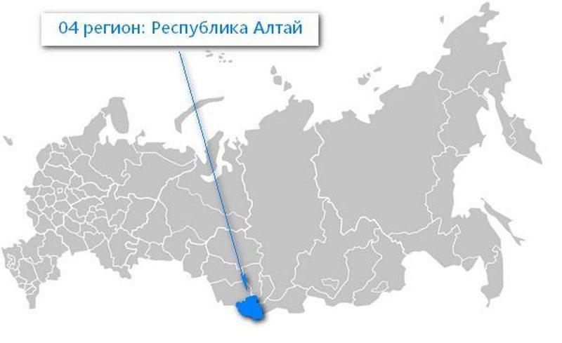 Карта нахождения Республики Алтай