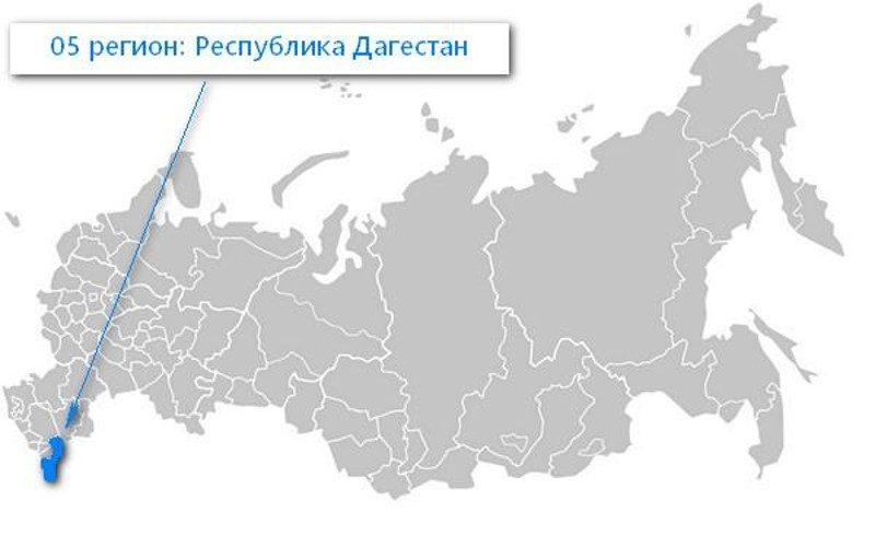 Карта нахождения Республики Дагестан