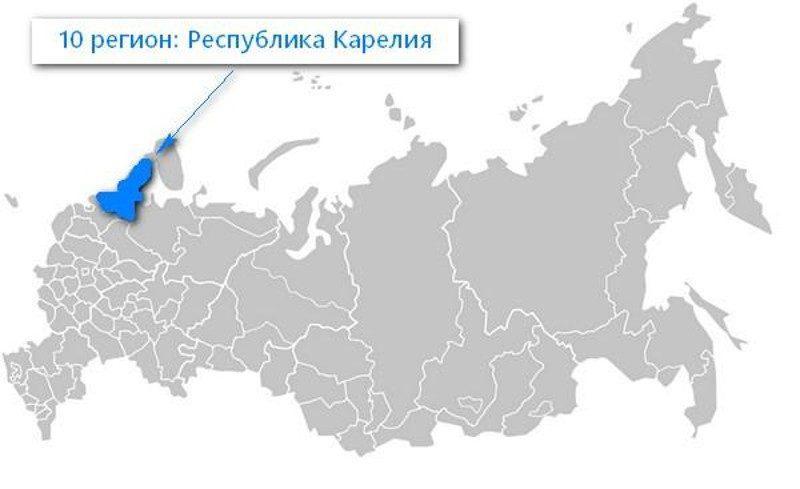 Карта нахождения Республики Карелия