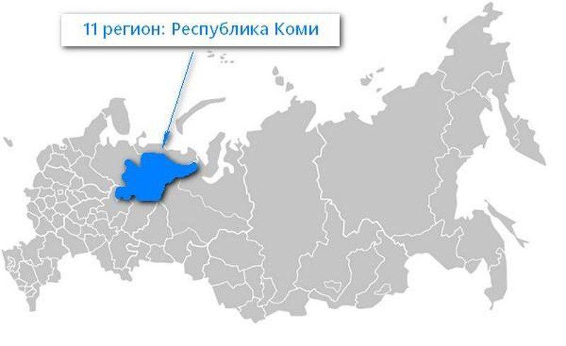 Карта нахождения Республики Коми