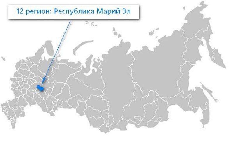 Карта нахождения Республики Марий Эл