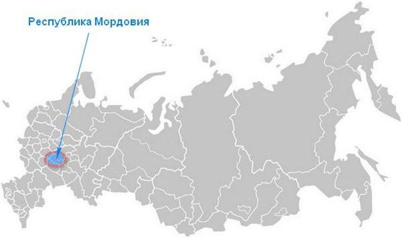 Карта нахождения Республики Мордовия