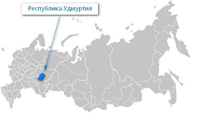 Карта нахождения Удмуртской Республики
