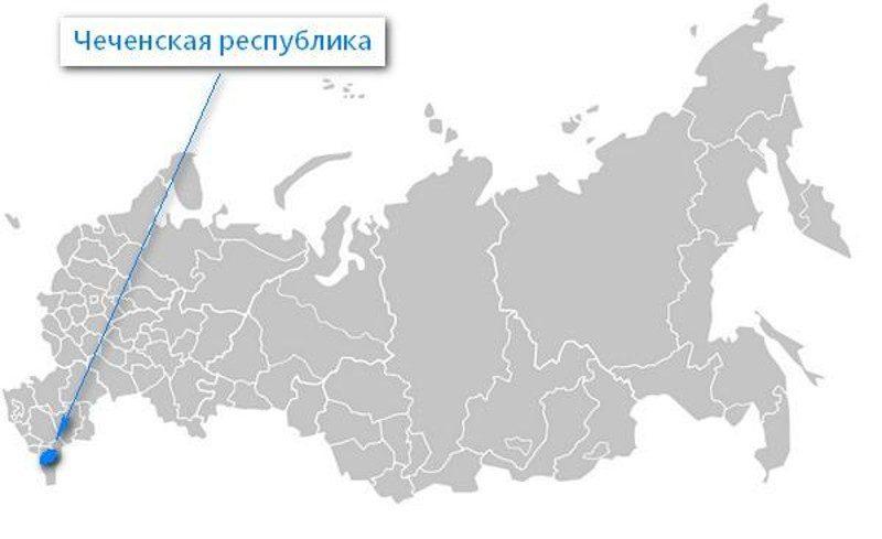 Карта нахождения Чеченской республики