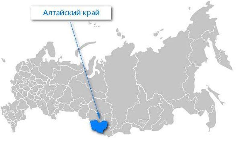 Карта нахождения Алтайского края