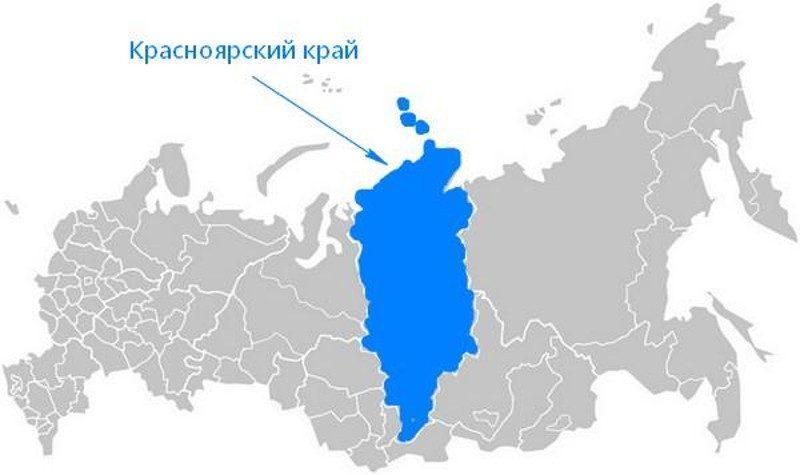 Карта нахождения Красноярского края