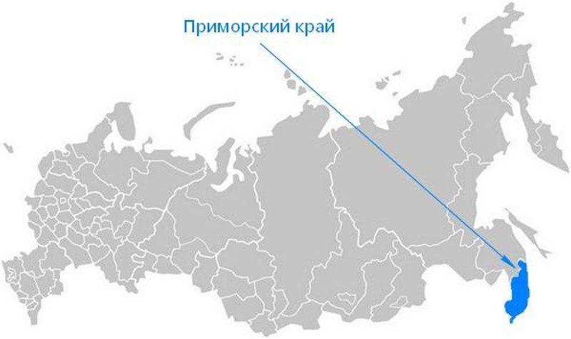 Карта нахождения Приморского края