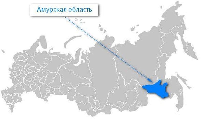 Карта нахождения Амурской области