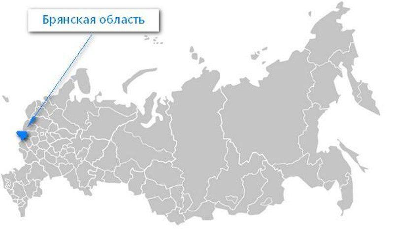 Карта нахождения Брянской области