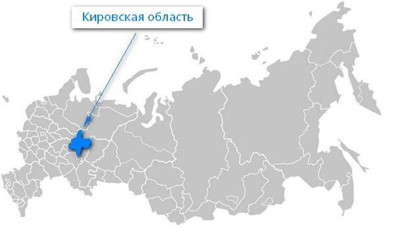 Карта нахождения Кировской области