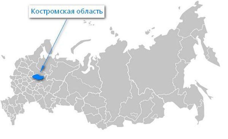 Карта нахождения Костромской области