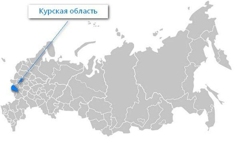 Карта нахождения Курской области