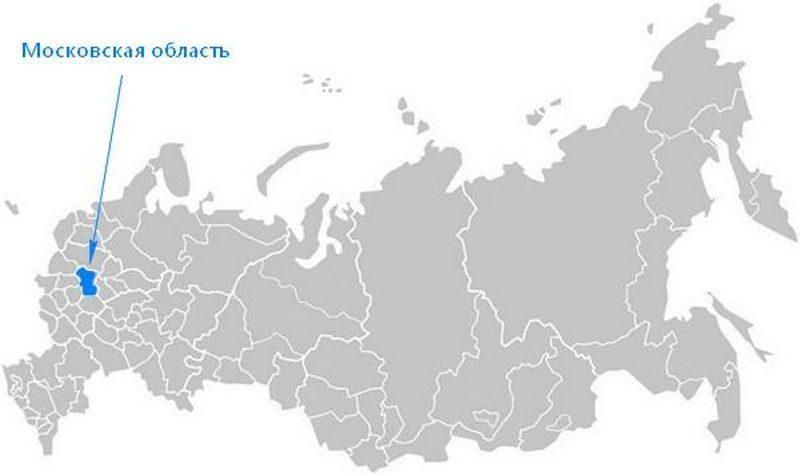 Карта нахождения Московской области