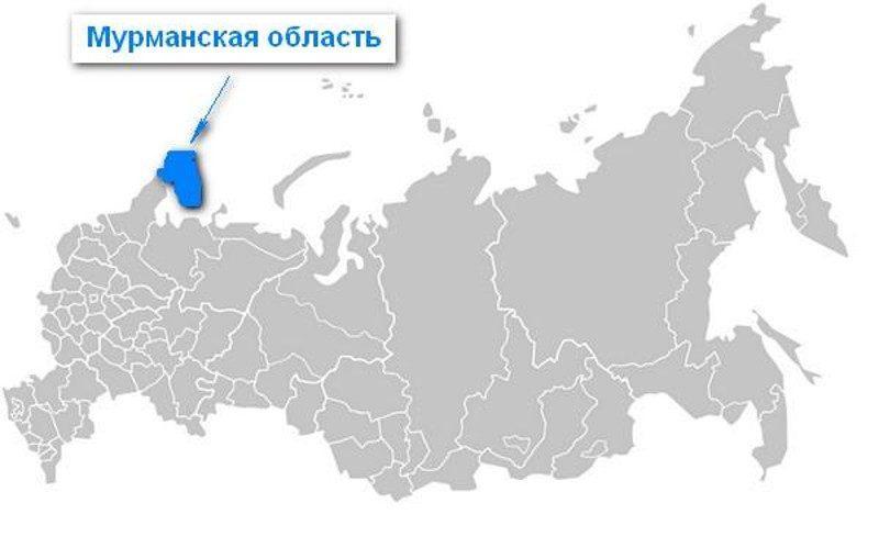Карта нахождения Мурманской области