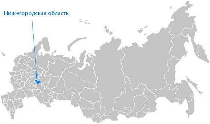 Карта нахождения Нижегородской области