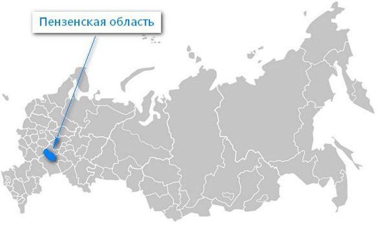 Карта нахождения Пензенской области