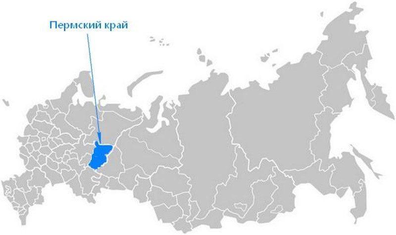 Карта нахождения Пермского края