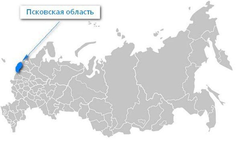 Карта нахождения Псковской области