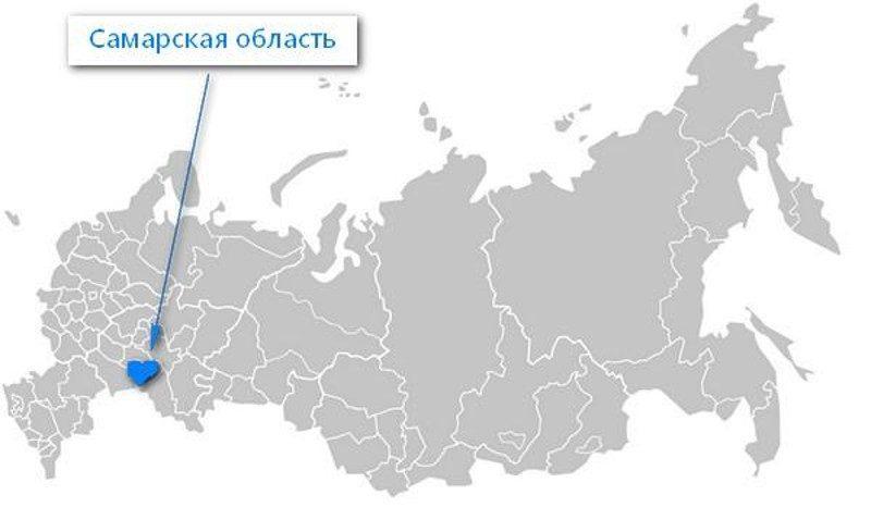 Карта нахождения Самарской области