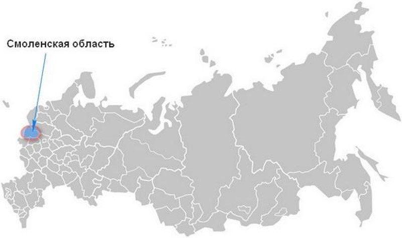 Карта нахождения Смоленской области