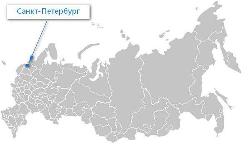 Карта нахождения города Санкт-Петербурга
