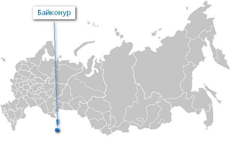 Карта нахождения Байконура