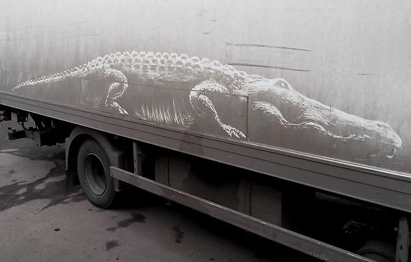 Крокодил нарисован на авто