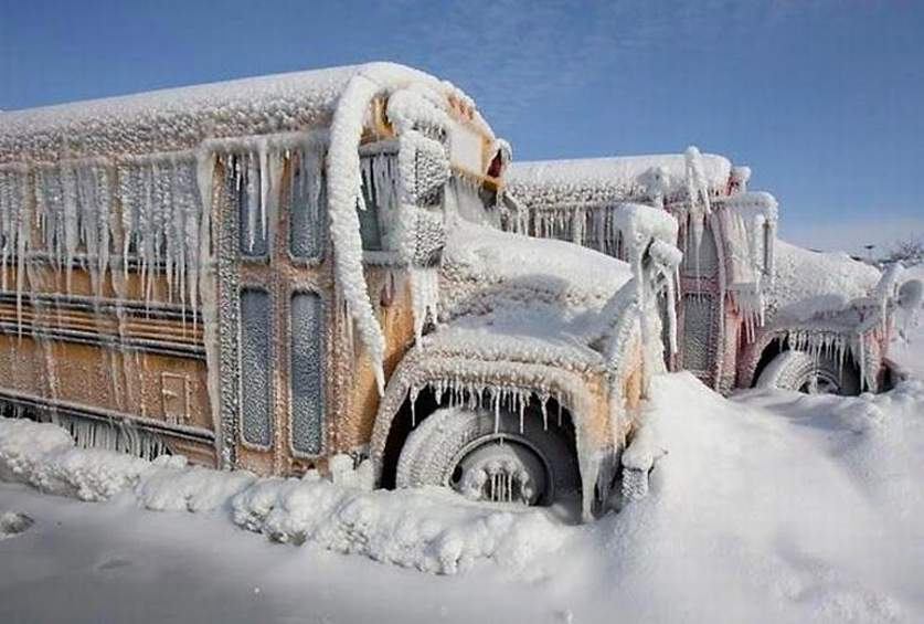 Автобус замерз