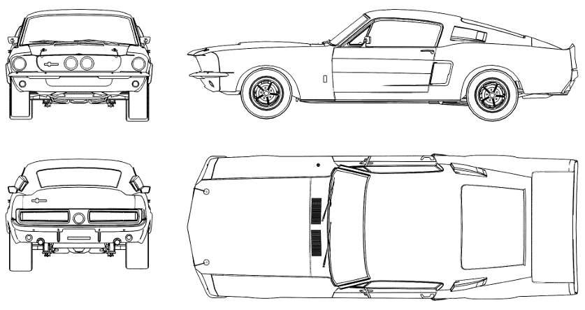 Ford Mustang Shelby чертеж